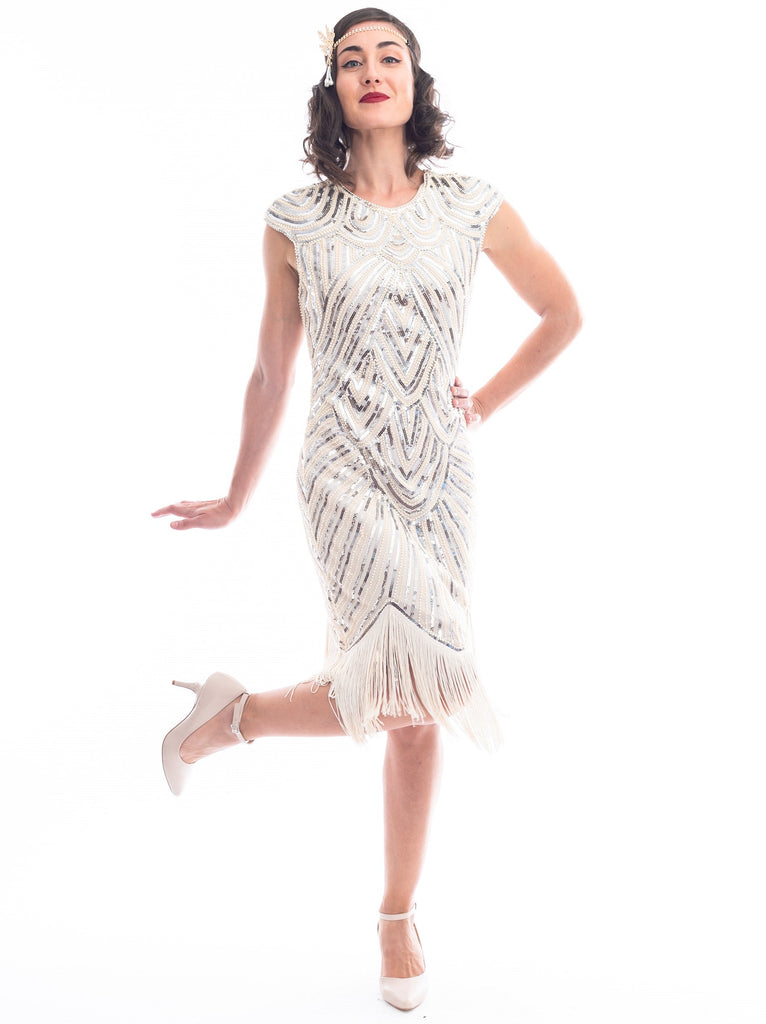 1920s Plus Size Ivory Beaded Mable Flapper Dress