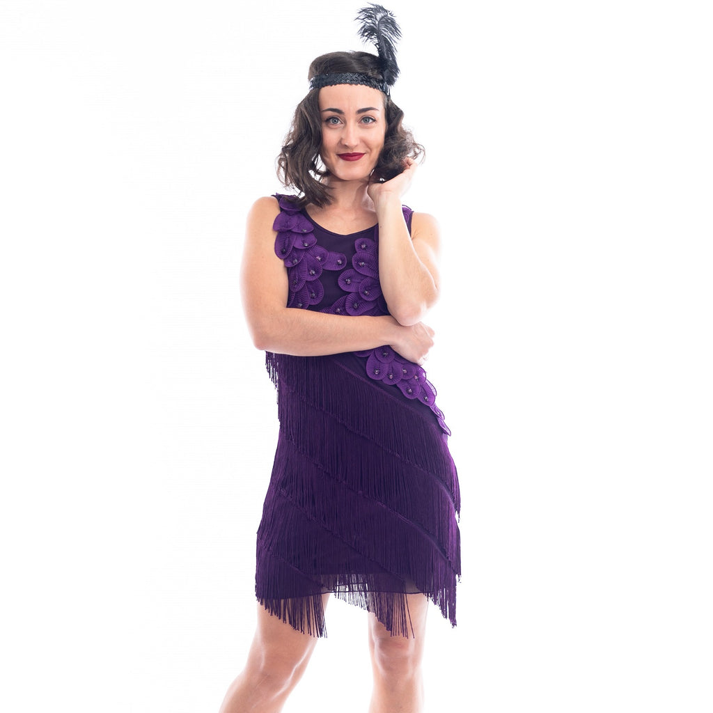 1920s Purple Fringe Lillian Flapper Dress
