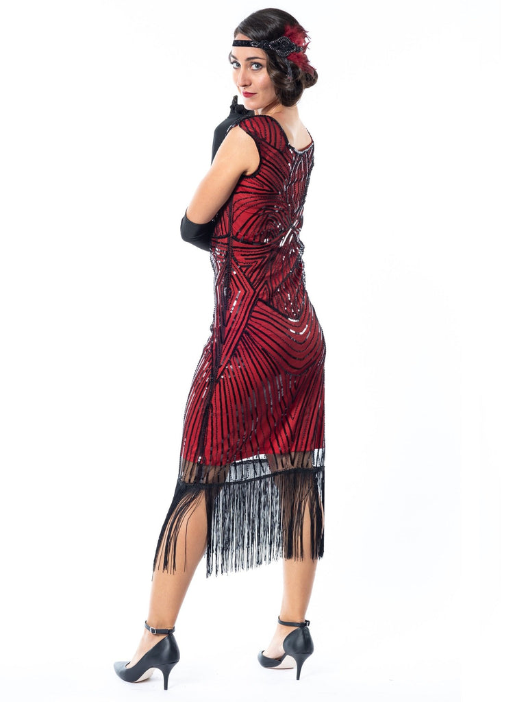 A Vintage Red Flapper Dress with black sequins and beads