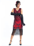 A red flapper dress with a 1920s deco pattern of sequins, beads and fringes around the hem