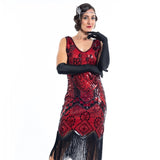 A 1920s vintage red gatsby dress with black sequins and beads