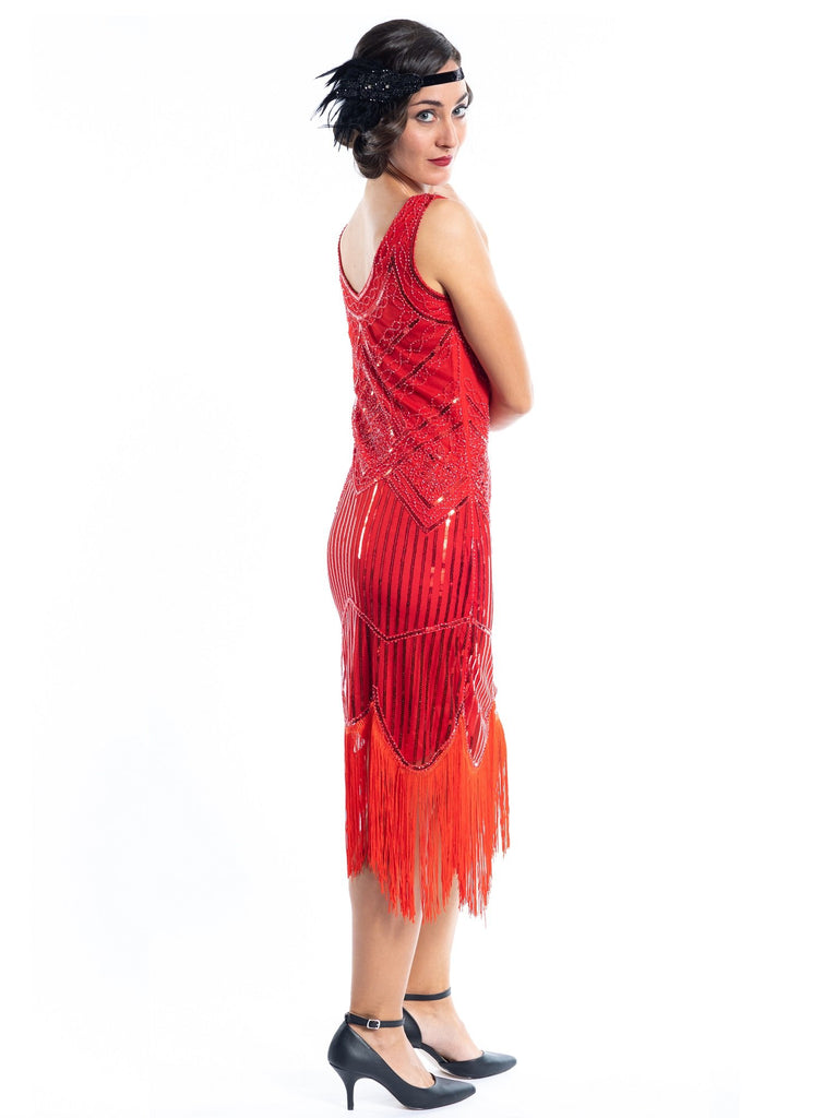 A 1920s Red Flapper Dress with sequins and beads - Back View