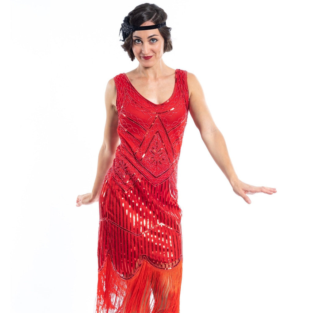 A 1920s Red Flapper Dress with sequins and beads - Close View