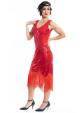 A 1920s Red Flapper Dress with sequins and beads - Side View
