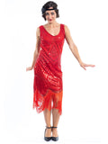 A 1920s Red Flapper Dress with sequins and beads