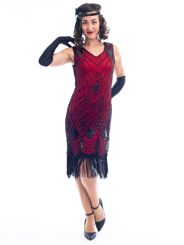 A Red Gatsby Dress with deco pattern of black sequins and beads.