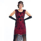 1920s Red Flapper Dress with Black Beads