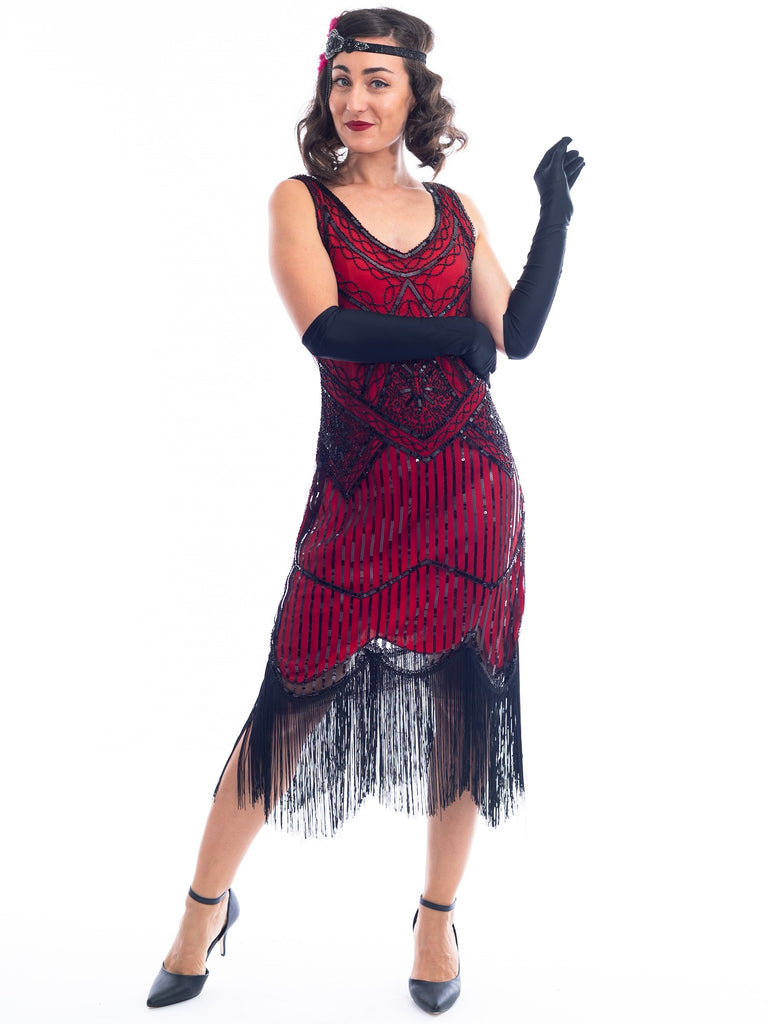 A Red 1920s Flapper Dress with black beads & fringes around the hem