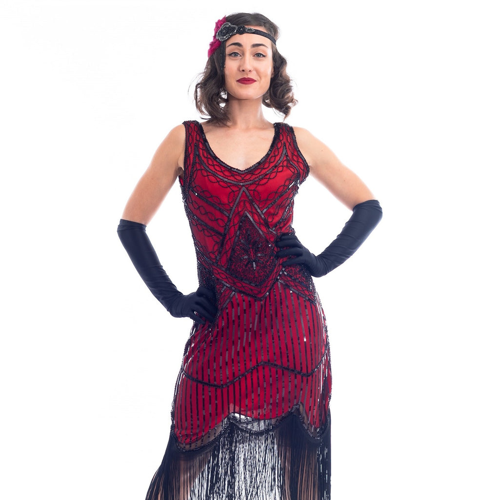 1920s Red & Black Beaded Stella Flapper Dress