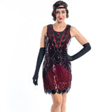 A Short 1920s Red Gatsby Dress with Black Sequins - Close View