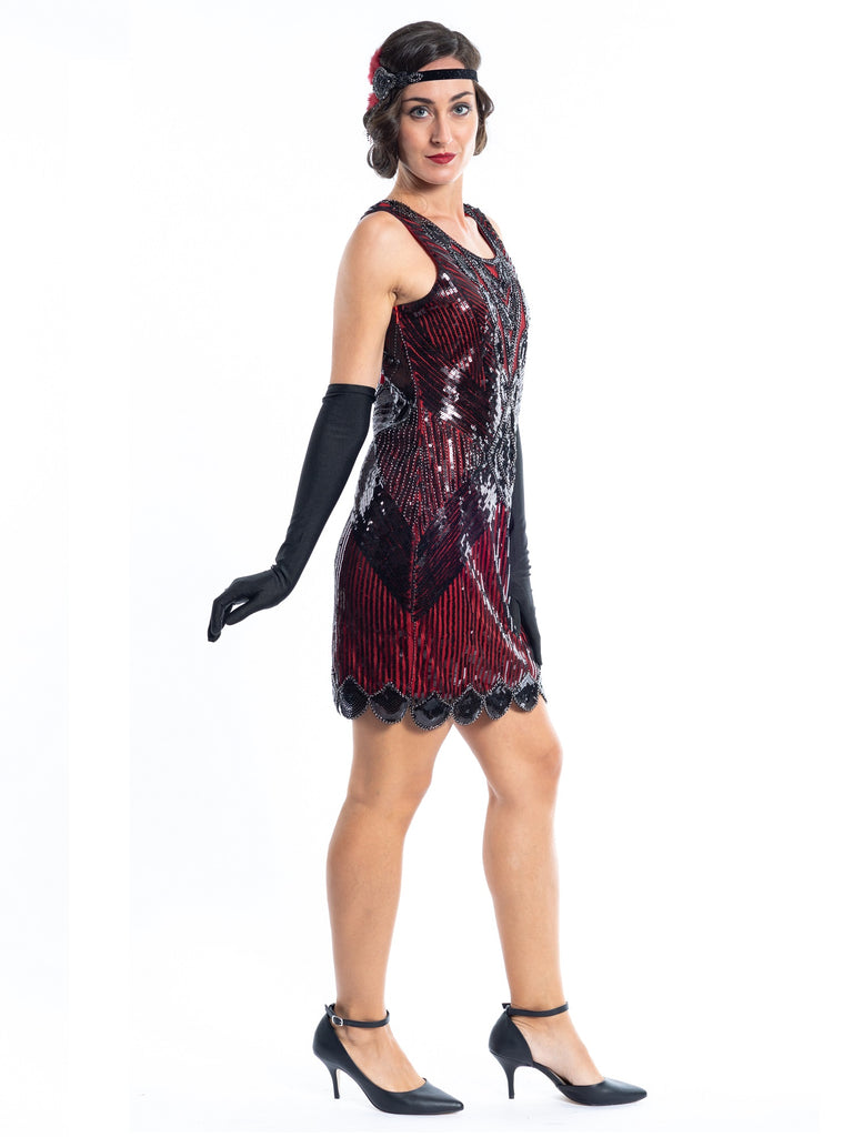 A Short 1920s Red Gatsby Dress with Black Sequins - Side View
