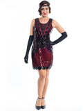 A Short 1920s Red Gatsby Dress with Black Sequins