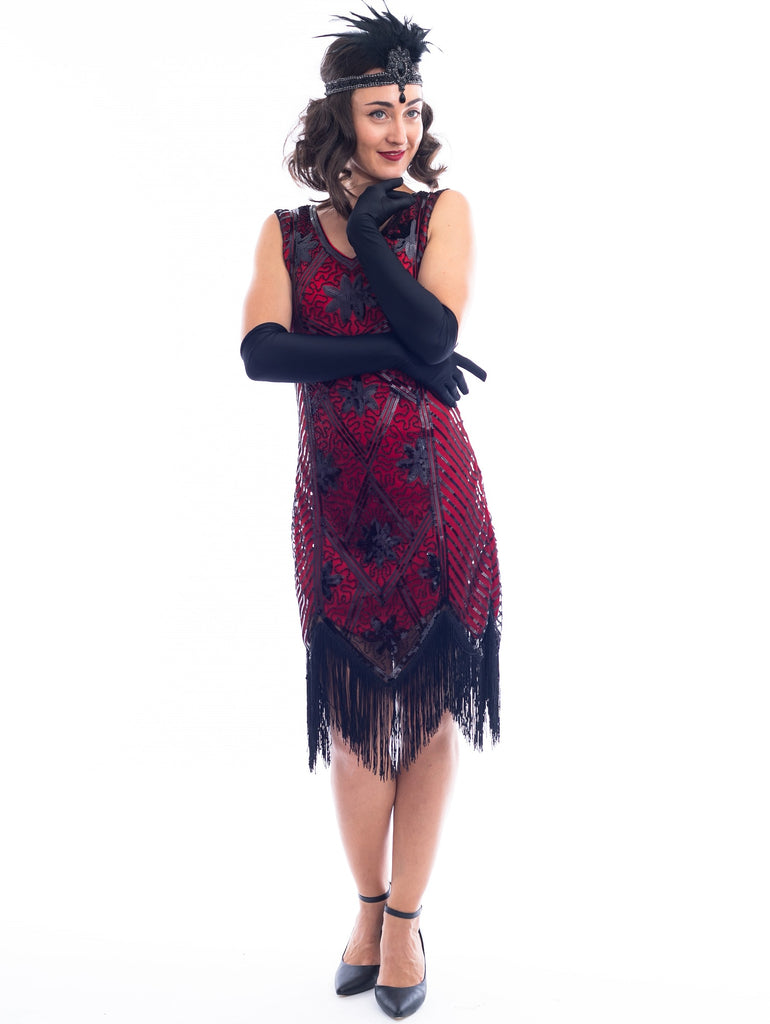 A Red Flapper Dress with a floral & geometric pattern of black sequins & beads