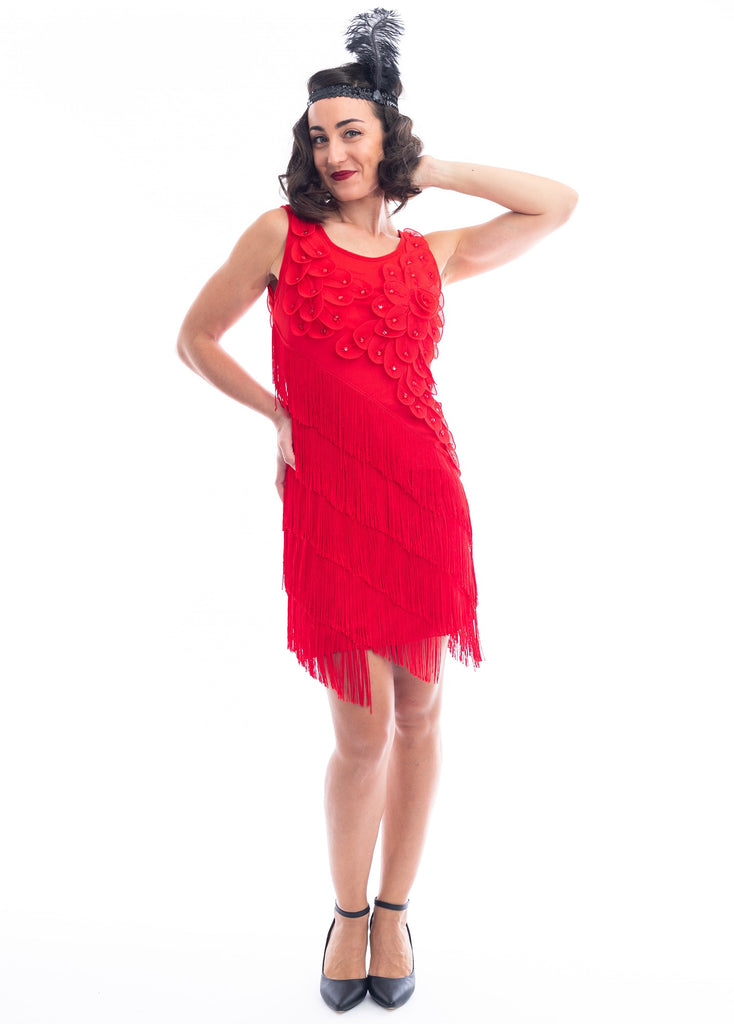 A Red Flapper Dress with a floral pattern and fringes