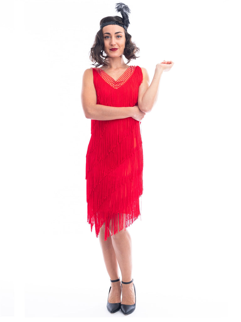 A Red 1920s Flapper Dress with red fringes around entire dress and a v-neckline with shimmering diamantes.