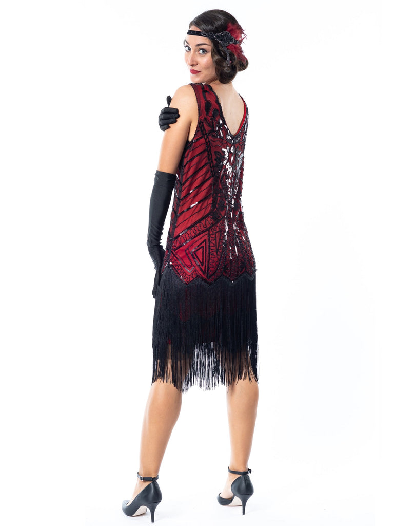 1920s Red Georgia Plus Size Flapper Dress