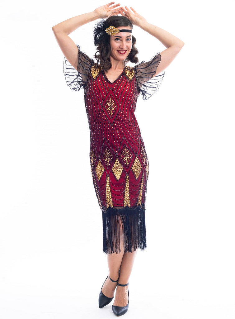 A vintage red 1920s Flapper Dress with gold beads & black sequins