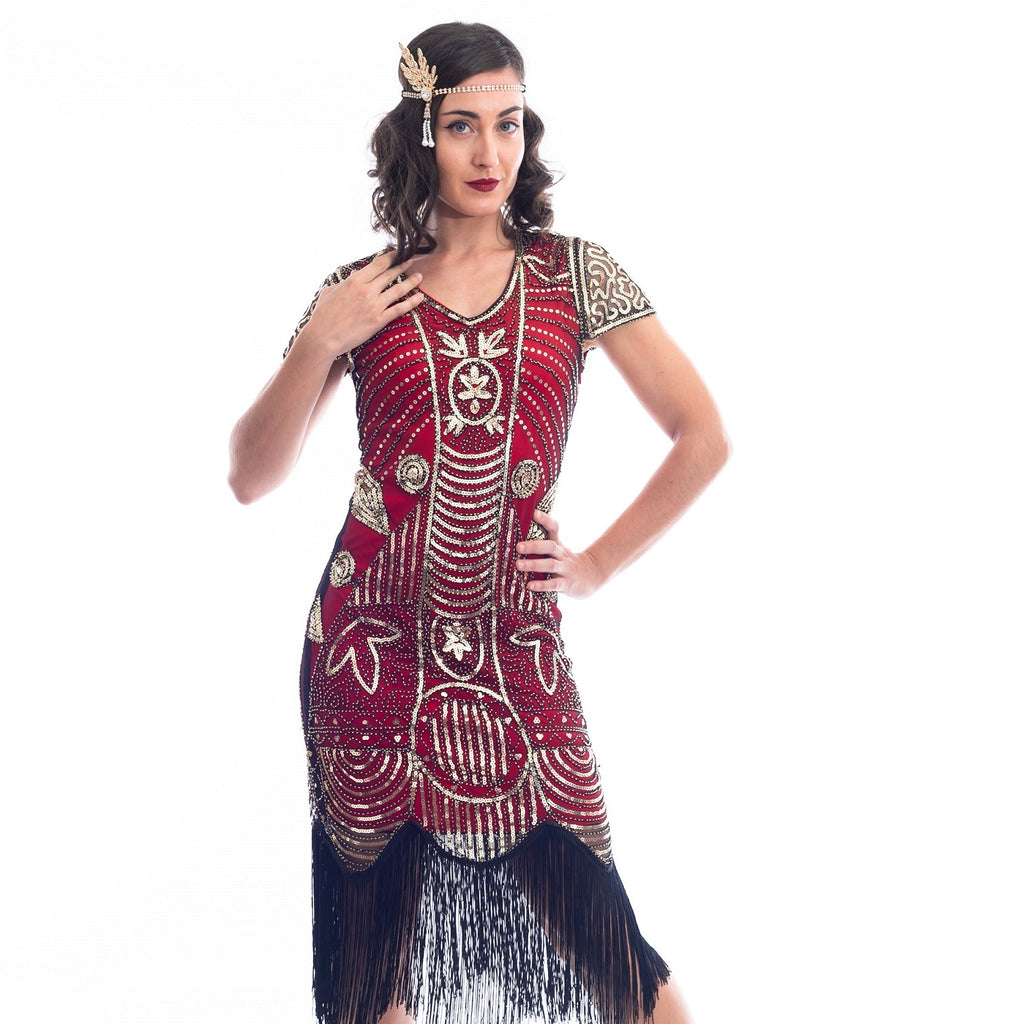 A close view of a Red 1920s Gatsby Dress with gold beads, gold sequins and black fringes around hem