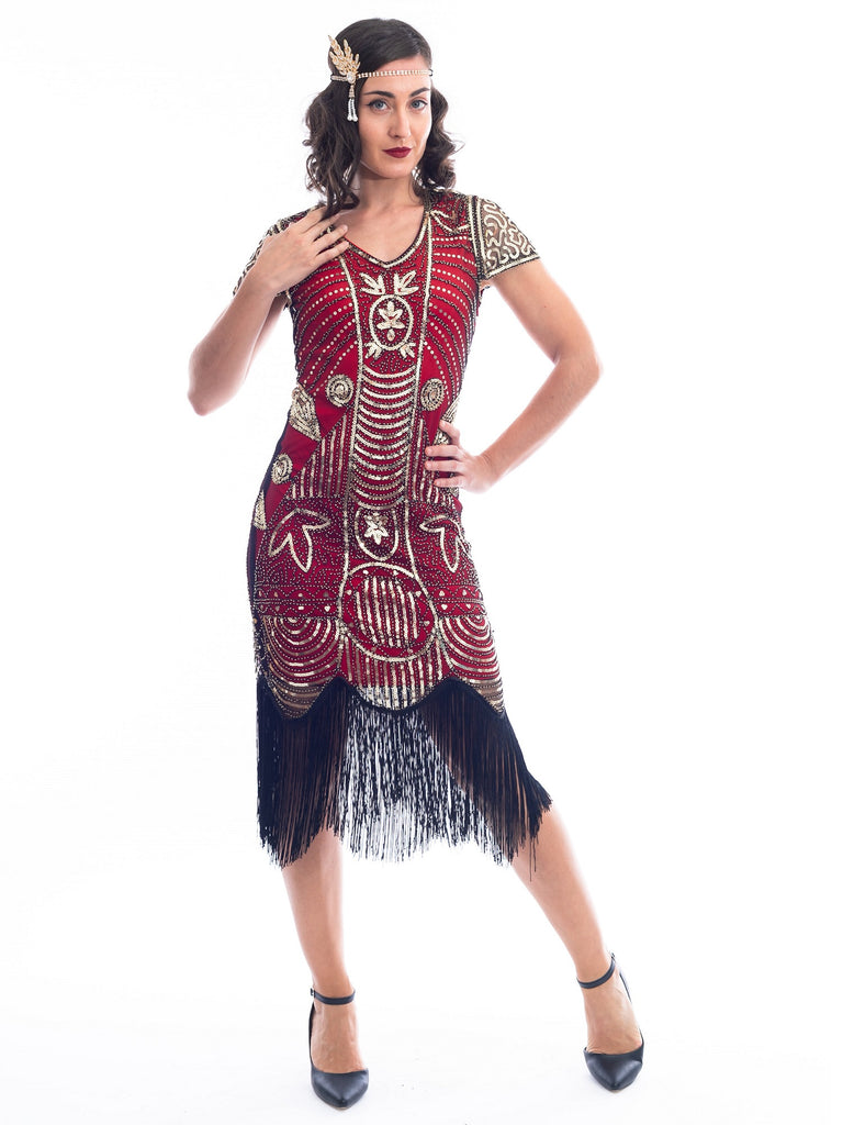 A Red 1920s Gatsby Dress with gold beads, gold sequins and black fringes around hem