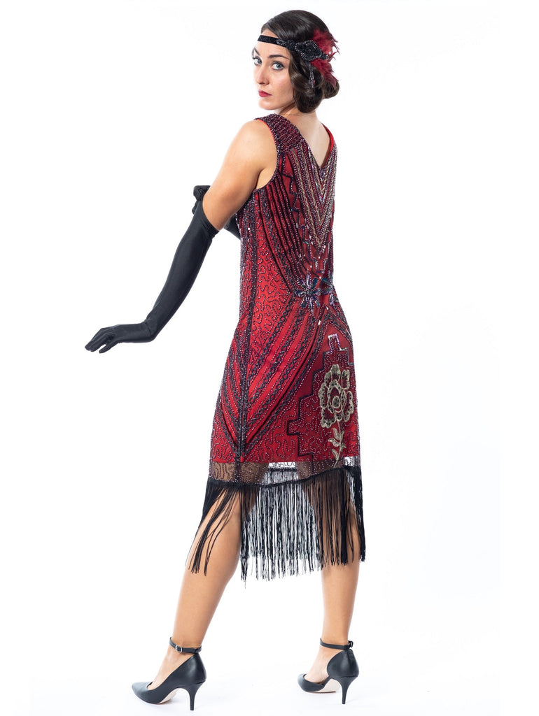 A Red Vintage Gatsby Dress with black and gold sequins, beads and fringes around the hem - Back View