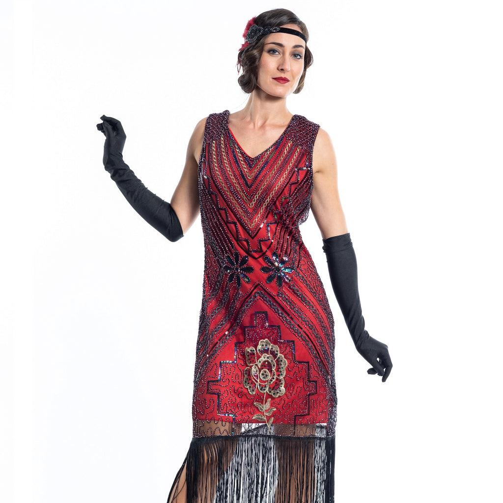 A Red Vintage Gatsby Dress with black and gold sequins, beads and fringes around the hem - Close View