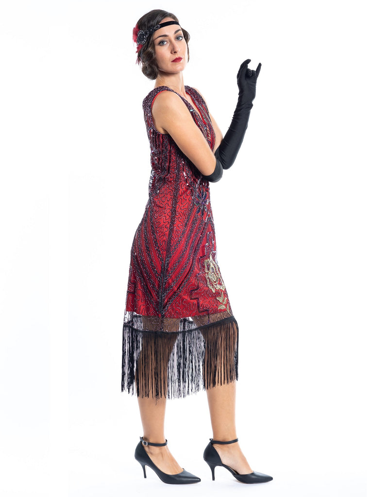 A Red Vintage Gatsby Dress with black and gold sequins, beads and fringes around the hem - Side View