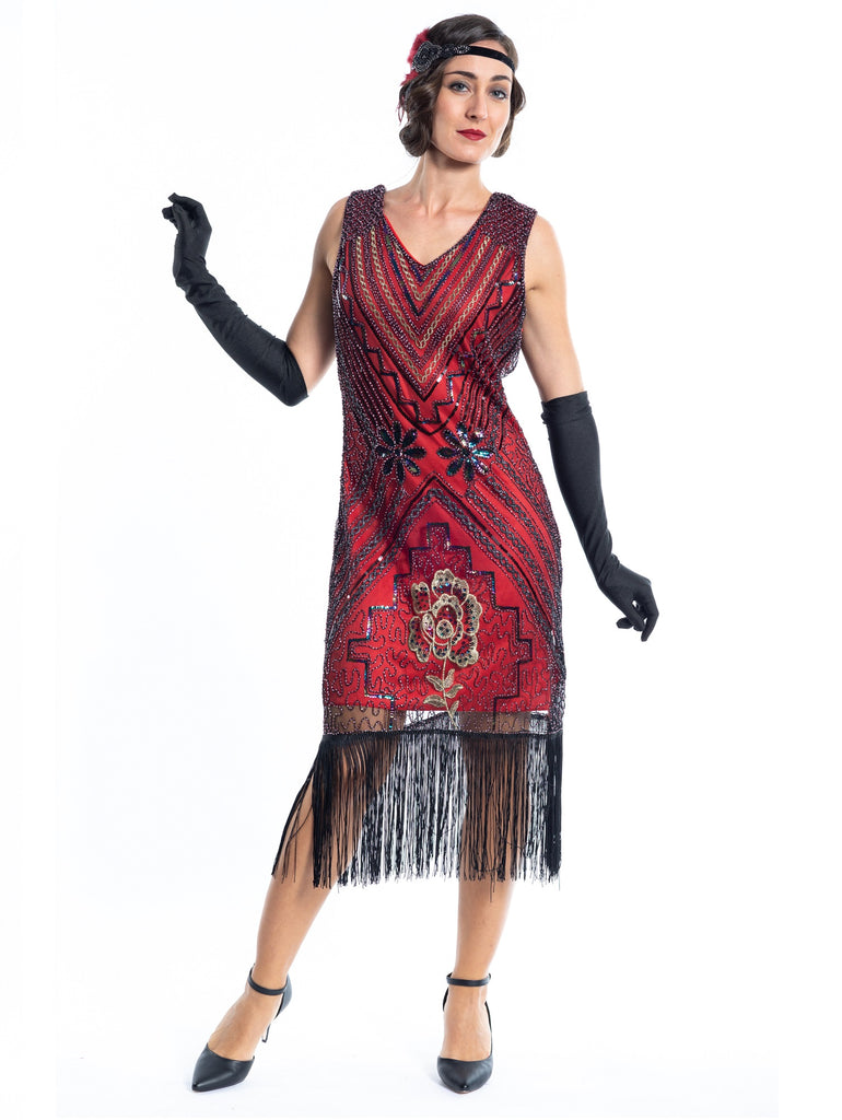 A Red Vintage Gatsby Dress with black and gold sequins, beads and fringes around the hem