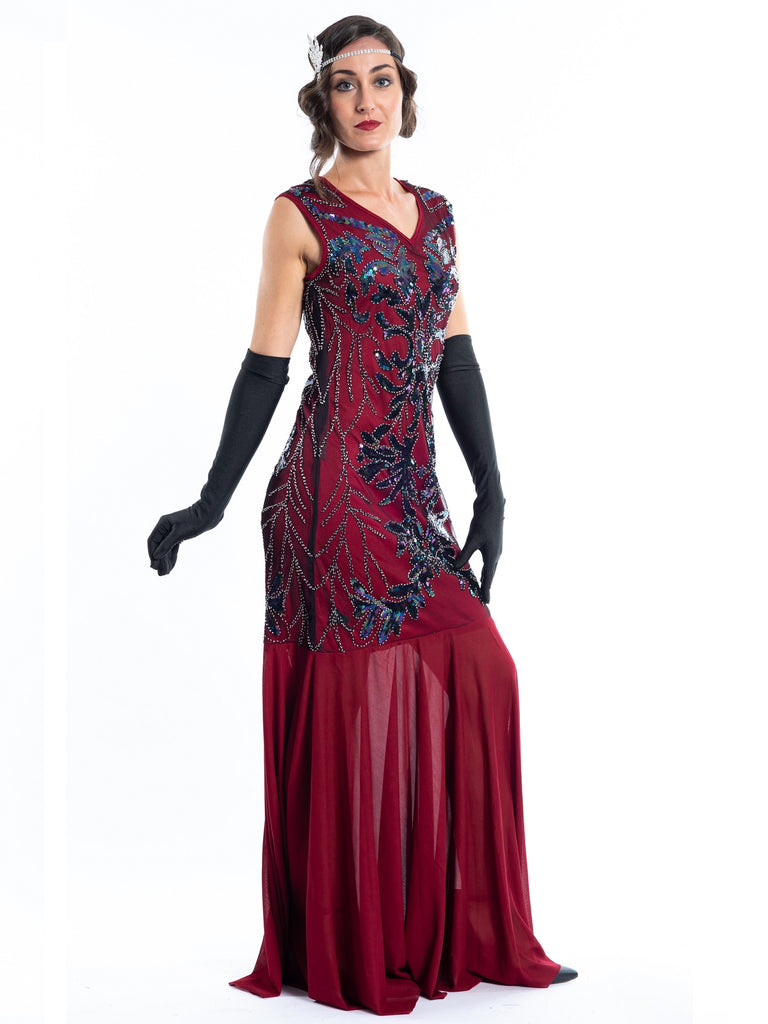 A long red great gatsby dress with sequins and beads