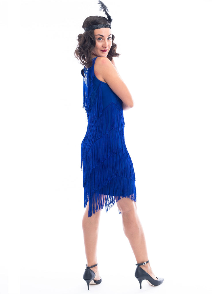 1920s Royal Blue Fringe Rita Flapper Dress