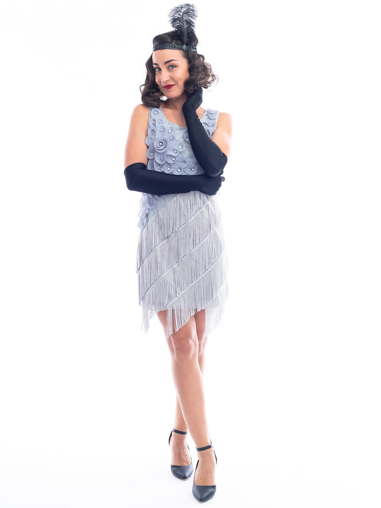 1920s Silver Fringe Lillian Flapper Dress