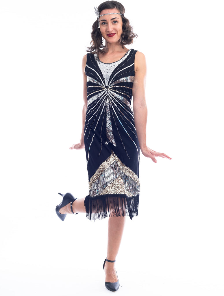 1920s Silver & Gold Sequin Black Eliza Flapper Dress