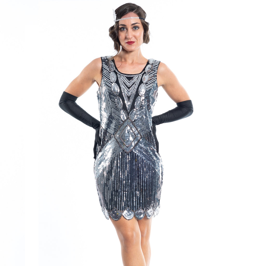 A Short 1920s Silver Gatsby Dress with sequins - Close View