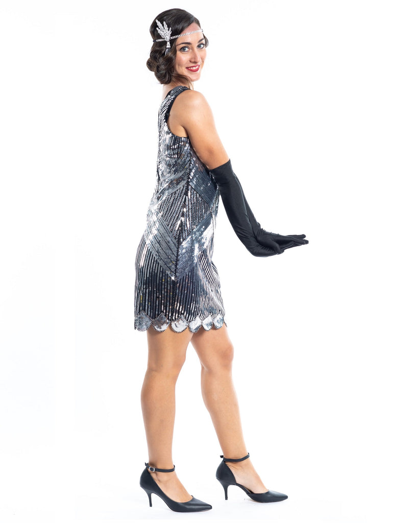 A Short 1920s Silver Gatsby Dress with sequins - Side View