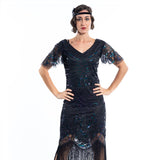 A Black Gatsby Dress with black beads and short sleeves