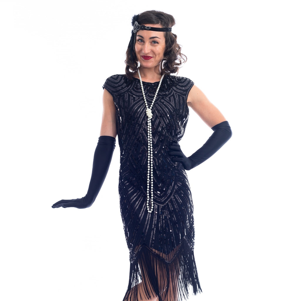 1920s Vintage Black Beaded Mable Flapper Dress