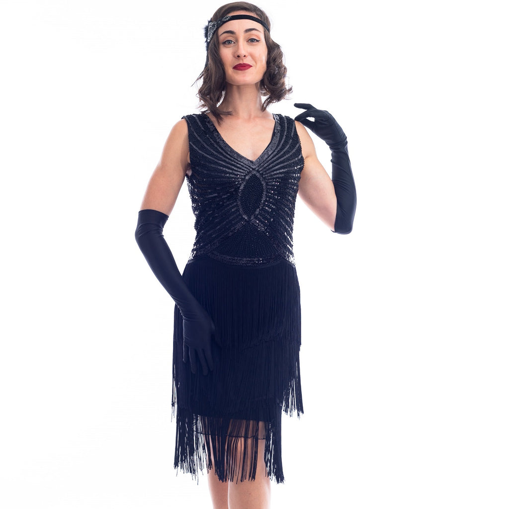 1920s Vintage Black Sequin Scarlett Gatsby Dress