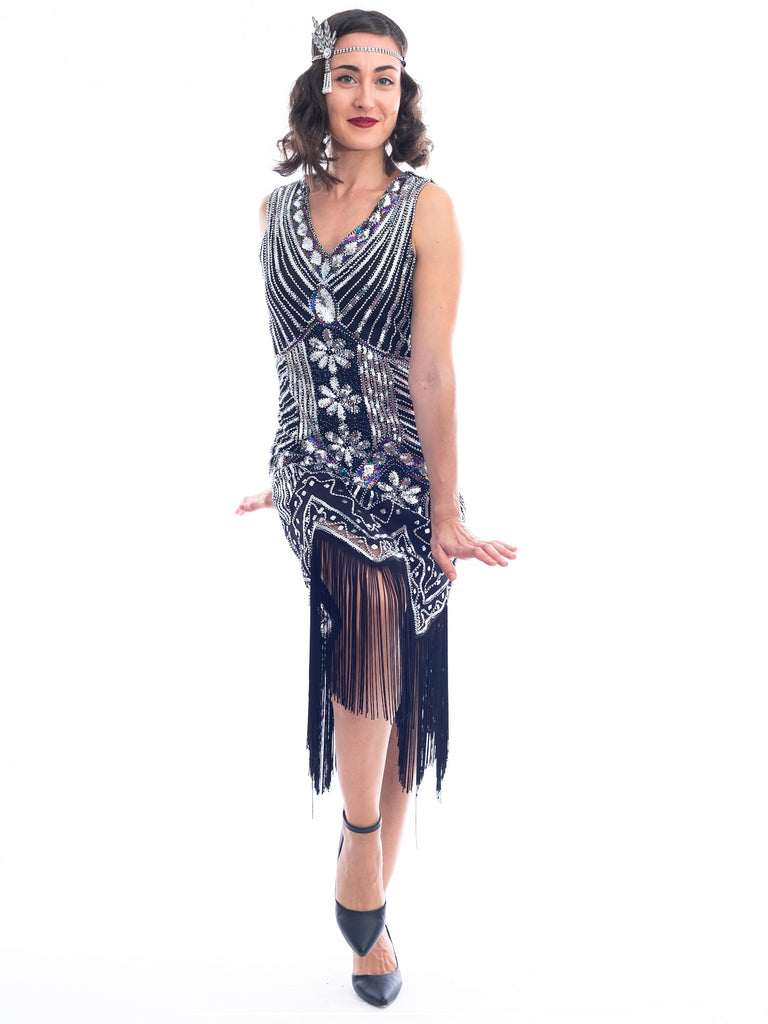 1920s Vintage Black Silver Beaded Ella Flapper Dress