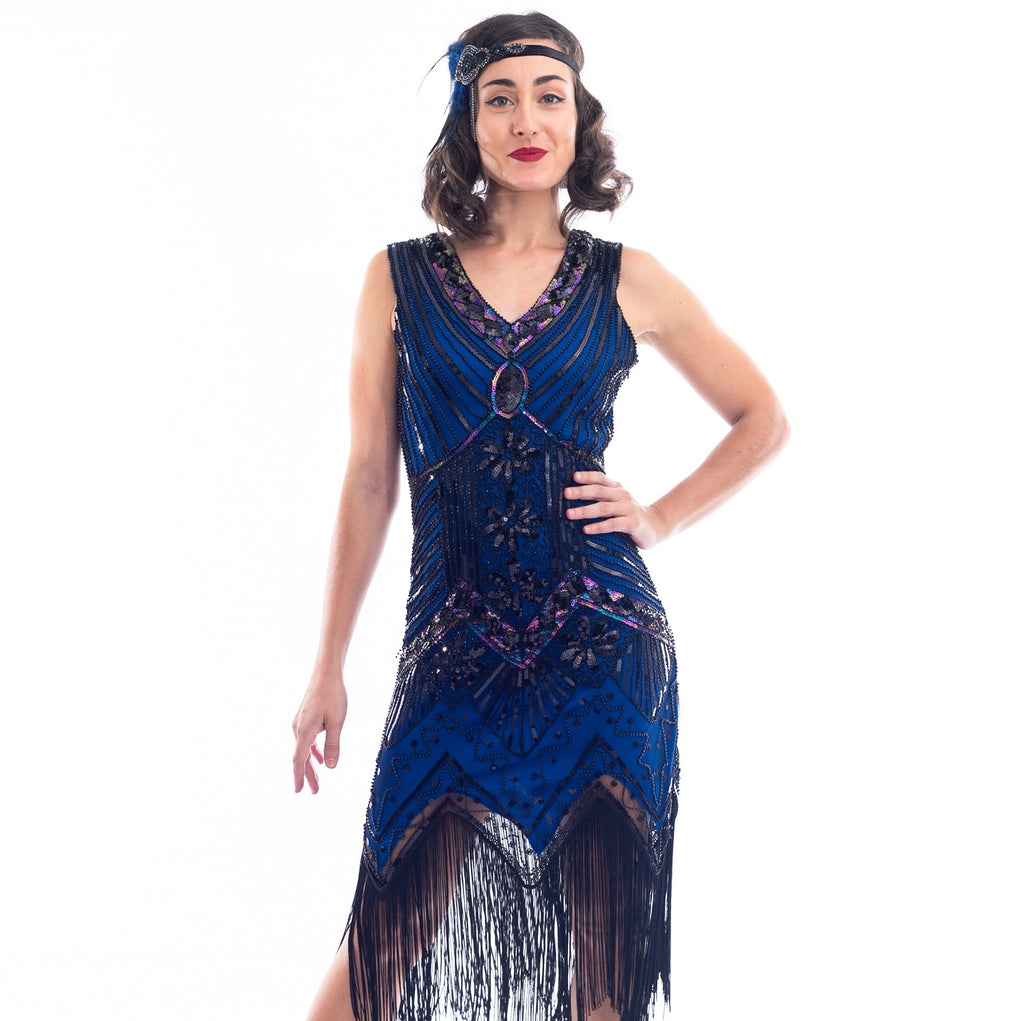 1920s Vintage Blue Beaded Ella Flapper Dress