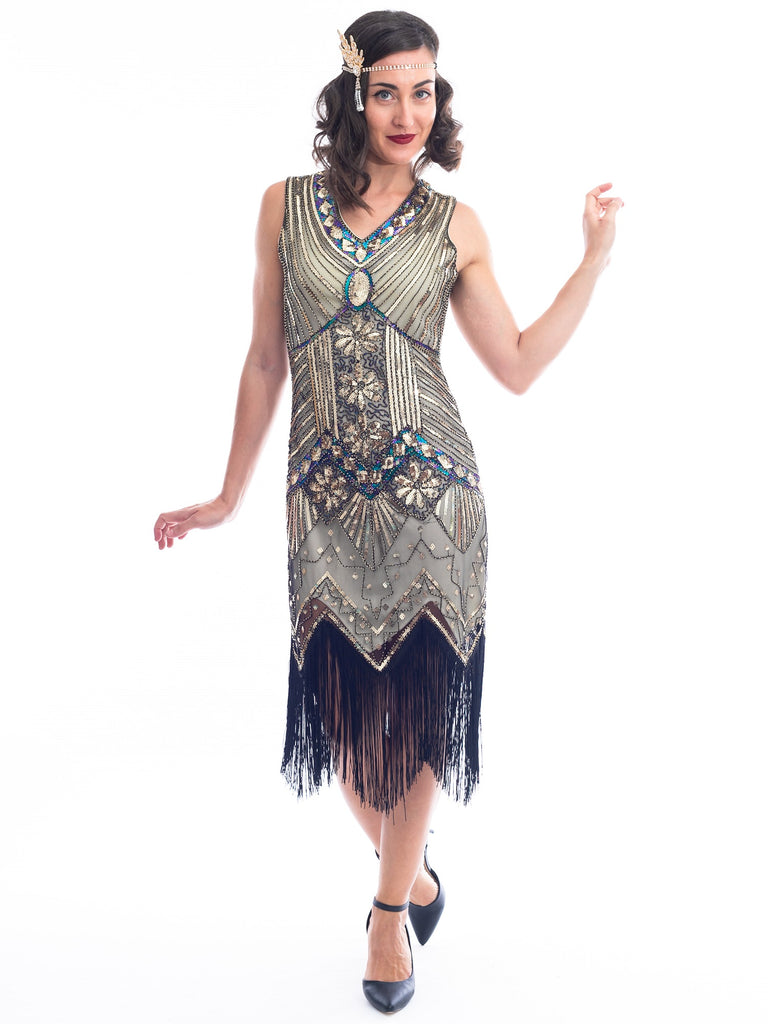 1920s Vintage Gold Ella Flapper Dress with beads and sequins