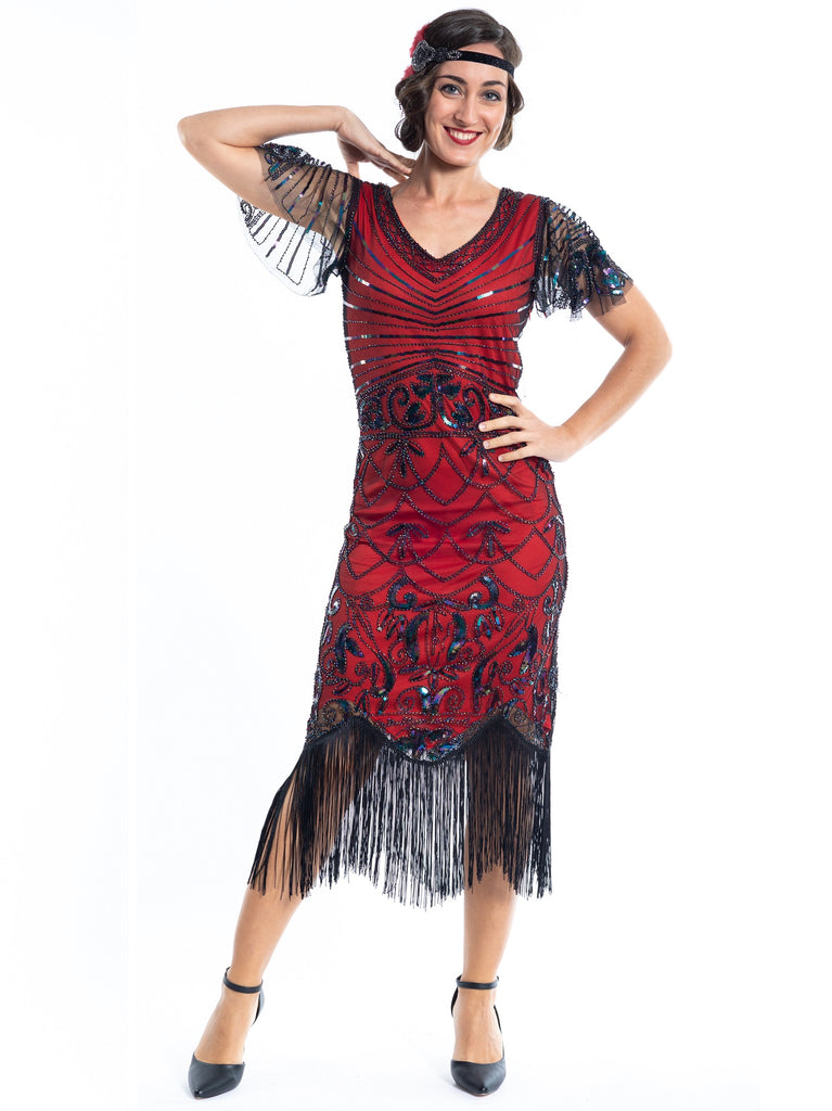 A Red Gatsby Dress with black beads a short sleeves