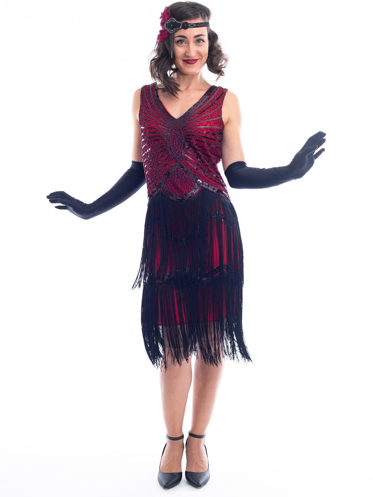 1920s Vintage Red & Black Sequin Scarlett Gatsby Dress