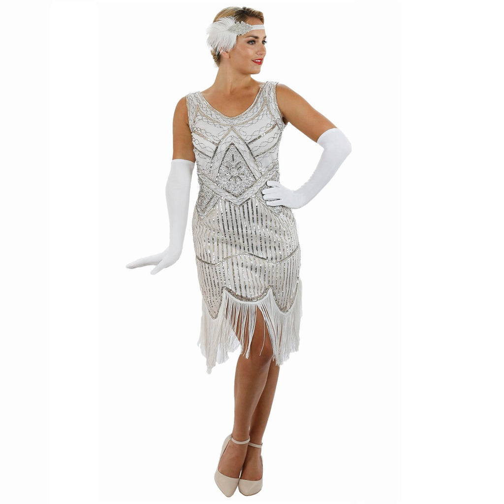 1920s White Beaded Sequin Stella Flapper Dress with Gloves