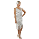 1920s White Beaded Sequin Stella Flapper Dress Side