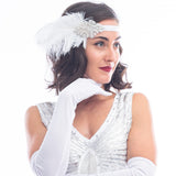 1920s White Deco Flapper Headband