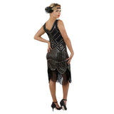 1920s Black Beaded Sequin Stella Flapper Dress Back