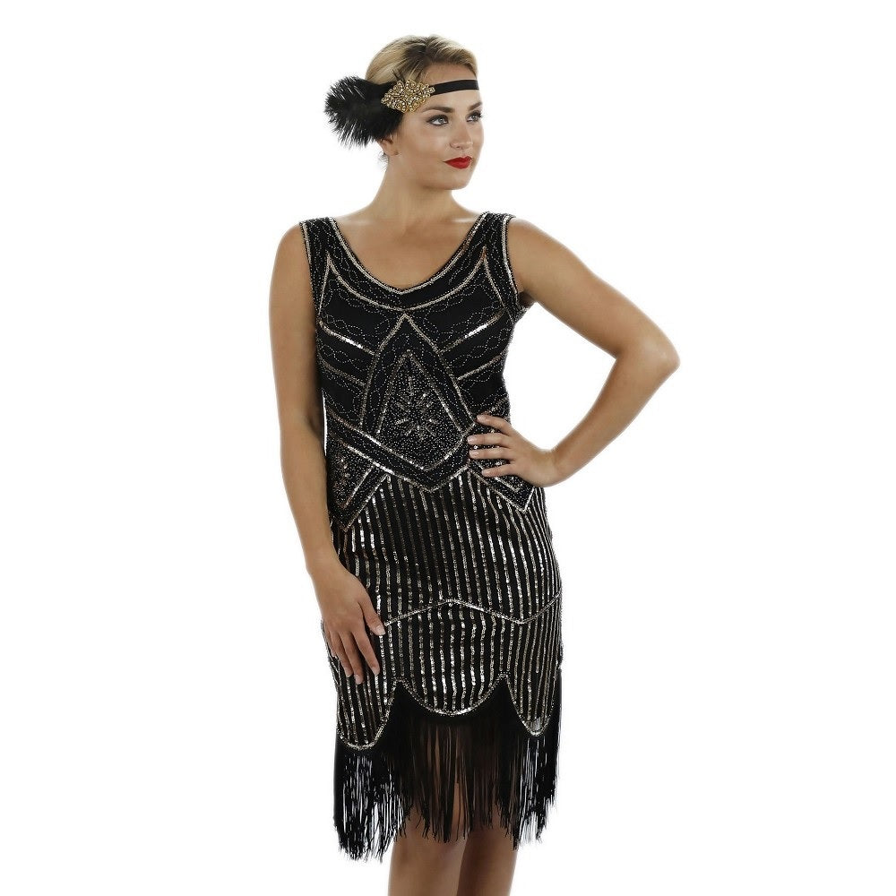 1920s Black Beaded Sequin Stella Flapper Dress Close