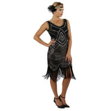 1920s Black Gold Beaded Sequin Stella Flapper Dress Side