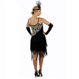 Black Latin Flapper Dance Dress Back view