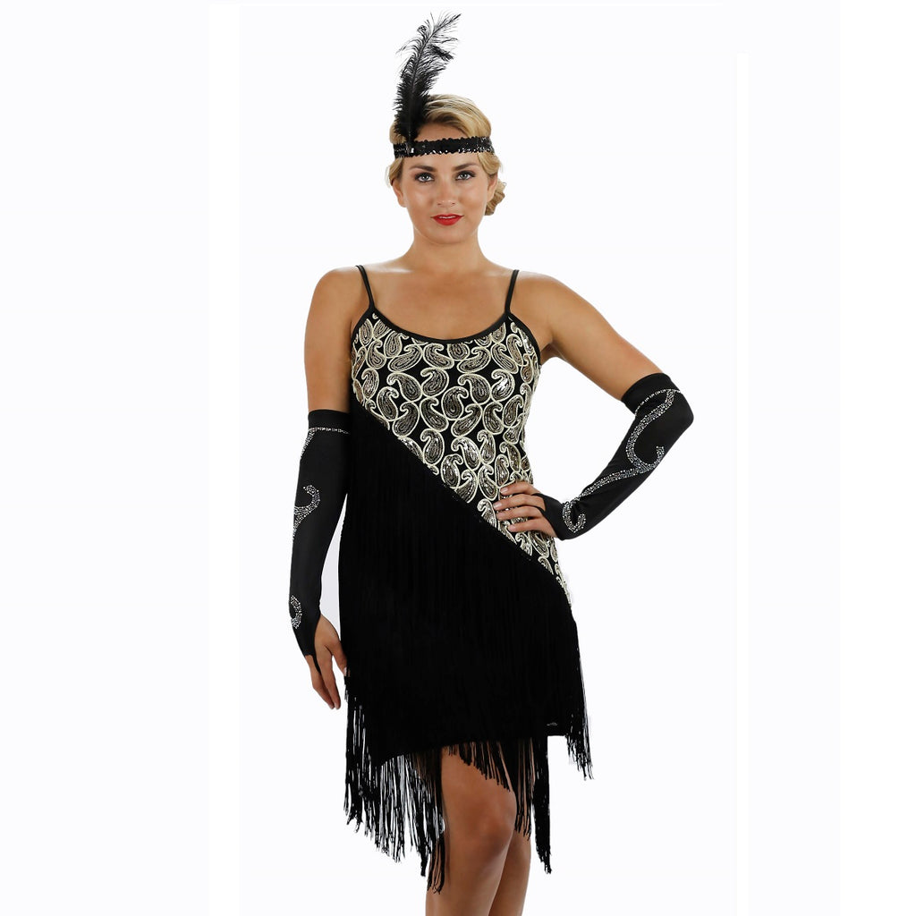 Black Latin Flapper Dance Dress Close up