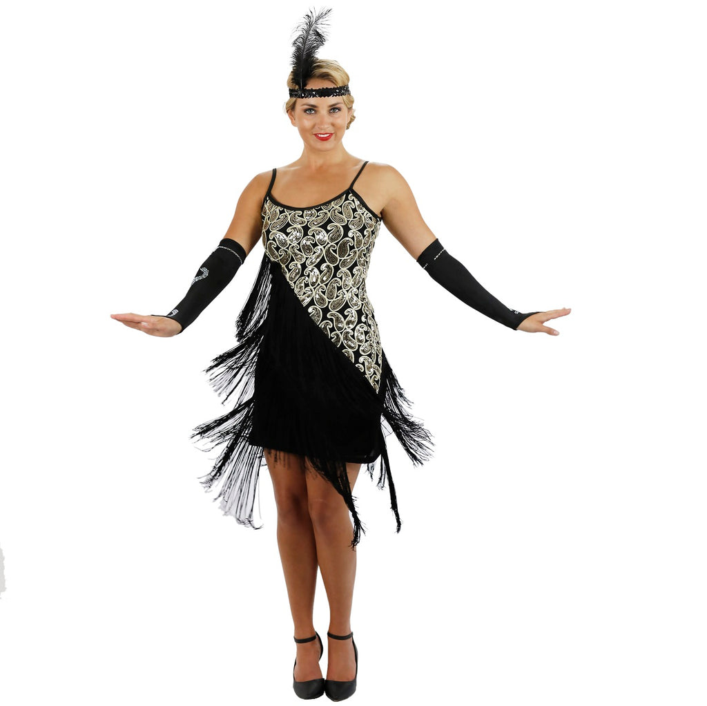 Black Latin Flapper Dance Dress Shimmer
